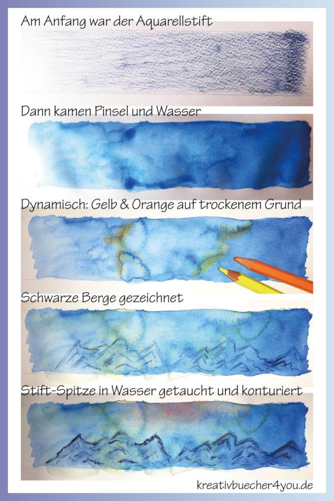 Aquarellstiften mit nasser Stiftspitze kreativ malen