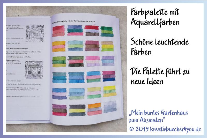 Farbpalette erstellen mit Aquarellfarben: Ausmaltipp für Malbuch für Erwachsene