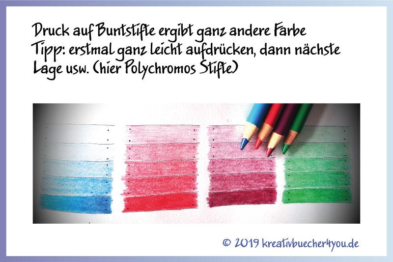 Der Druck auf die Stifte ergibt die Farbeintensität (Tipp zum Ausmalen mit Buntstiften)