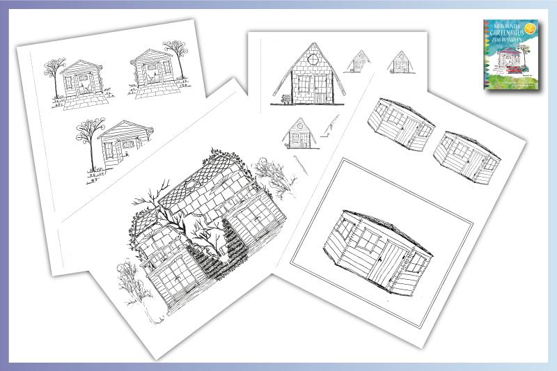 Ausmalseiten von Gartehäusern im Malbuch für Erwachsene und Gartenhaus Planer