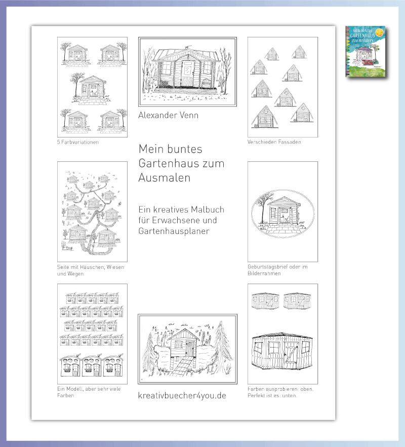 Verschiedene Gartenhaus Motiv für das Malbuch für Erwachsene