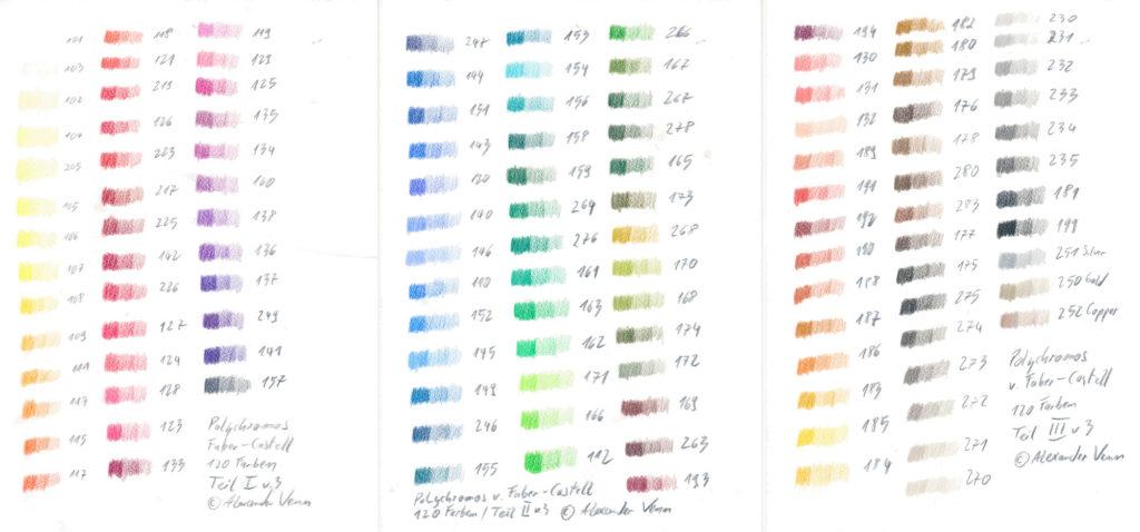 Polychromos-Buntstifte-Farbkarte-120 Farben