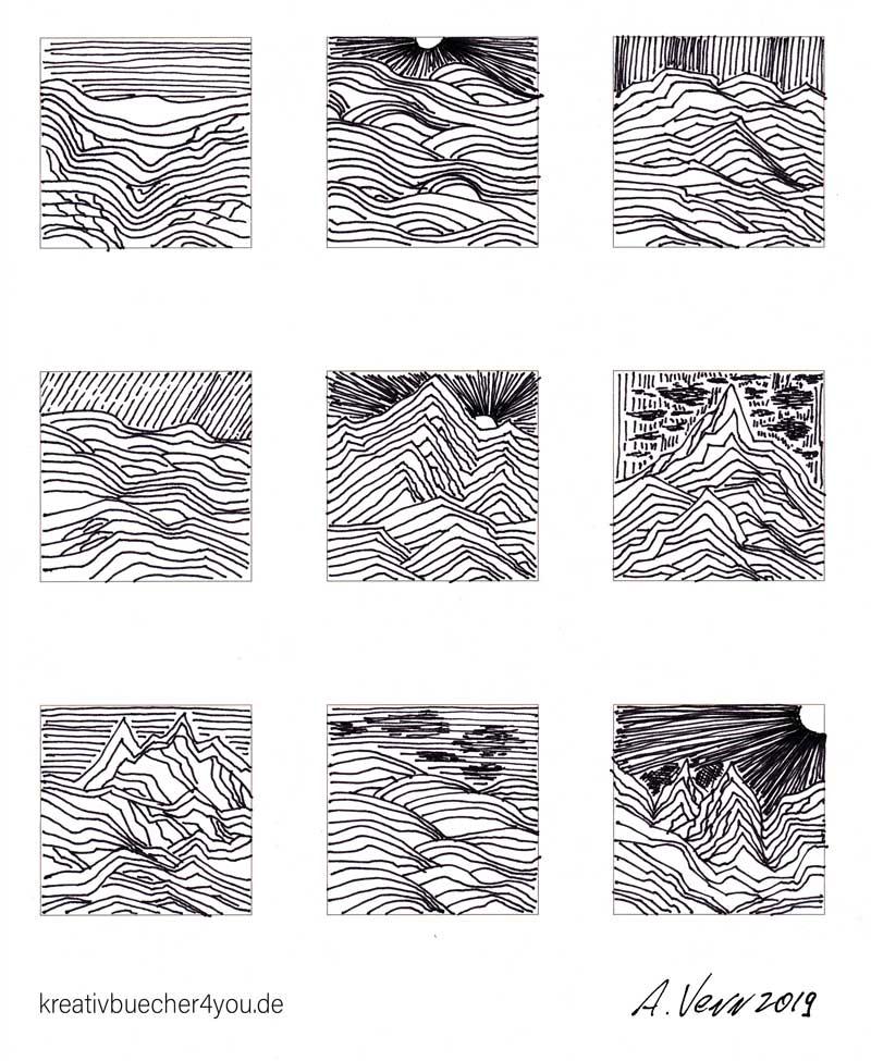 Landschaften Strichzeichnungen - Berge, Hügel, Täler