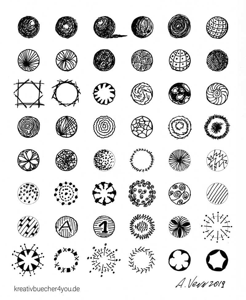 Muster in Kreisen und gemusterte Kugeln selber zeichnen. von Hand