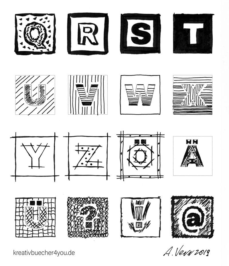 Buchstaben mit Muster zeichnen: Vorlage mit Umlauten und Sonderzeichen