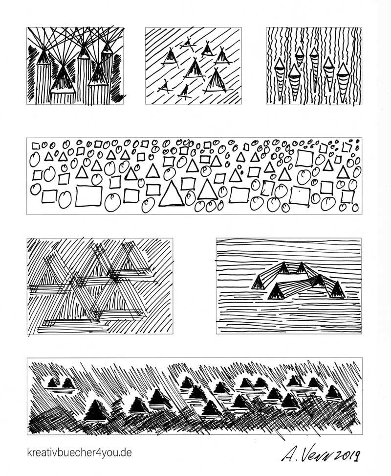 Landschaft und Muster aus dreiecken in Schwarz Weiß zeichnen