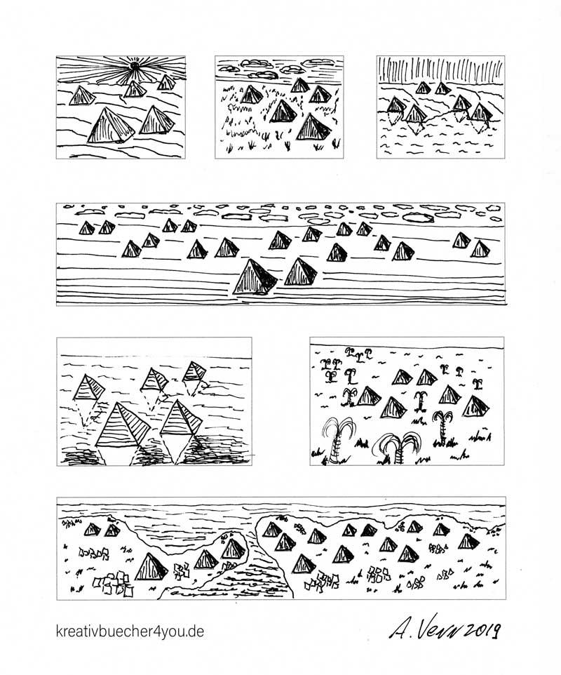 Landschaft zeichnen - Wüsten und Pyramiden