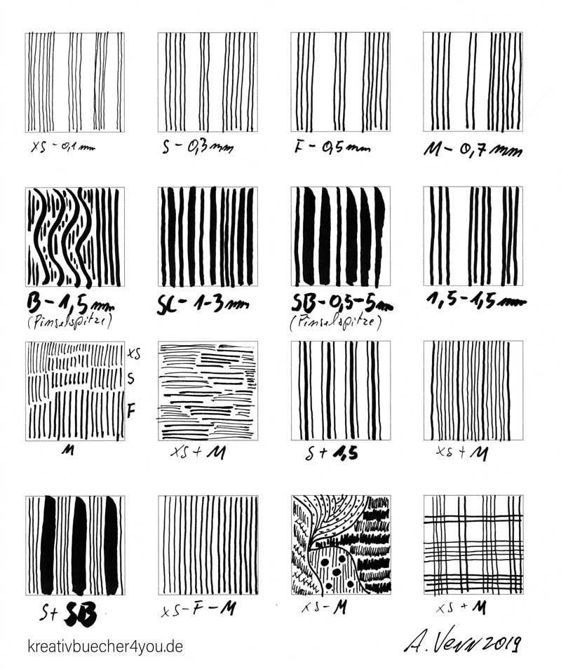 Linien Muster zeichnen mit Fineliner in verschiedenen Stiftstärken
