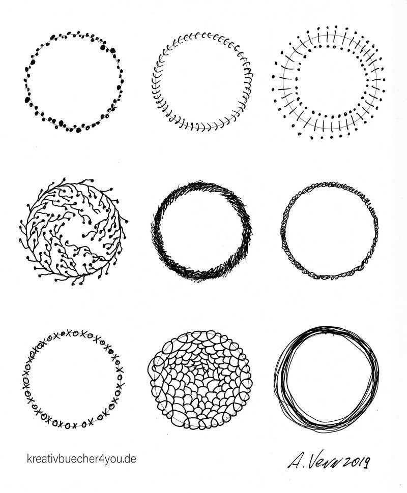Kreisrahmen und Kreisrand verziert von Hand gezeichnet