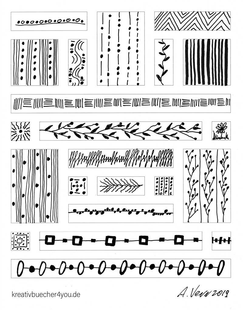 Pflnzenmuster Bordueren Zeichnungen mit Faber-Castell1511 ducument pen