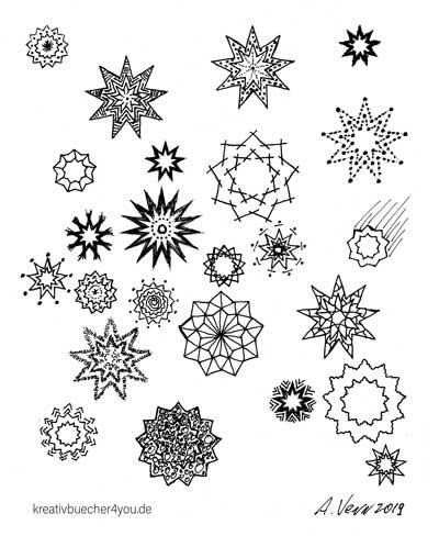 Sterne Muster zeichnen - Weihnachtsmotiv