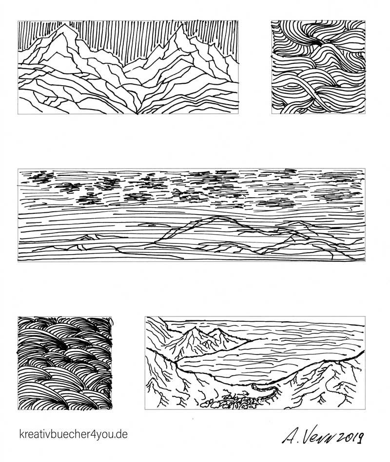 Landschaften und Wellen einfache Strichzeichnungen