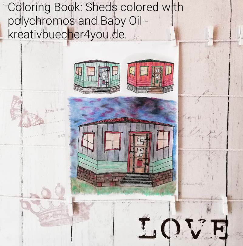 Coloring Book Garden Houses with Washing Effect and Polychromos Pencils