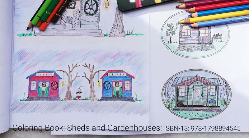Sheds in many different motifs to be colored in many ways
