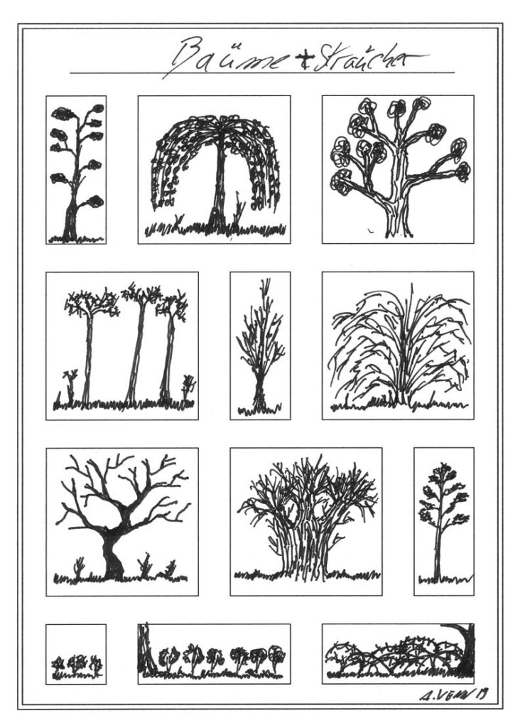 Baume und Sträucher