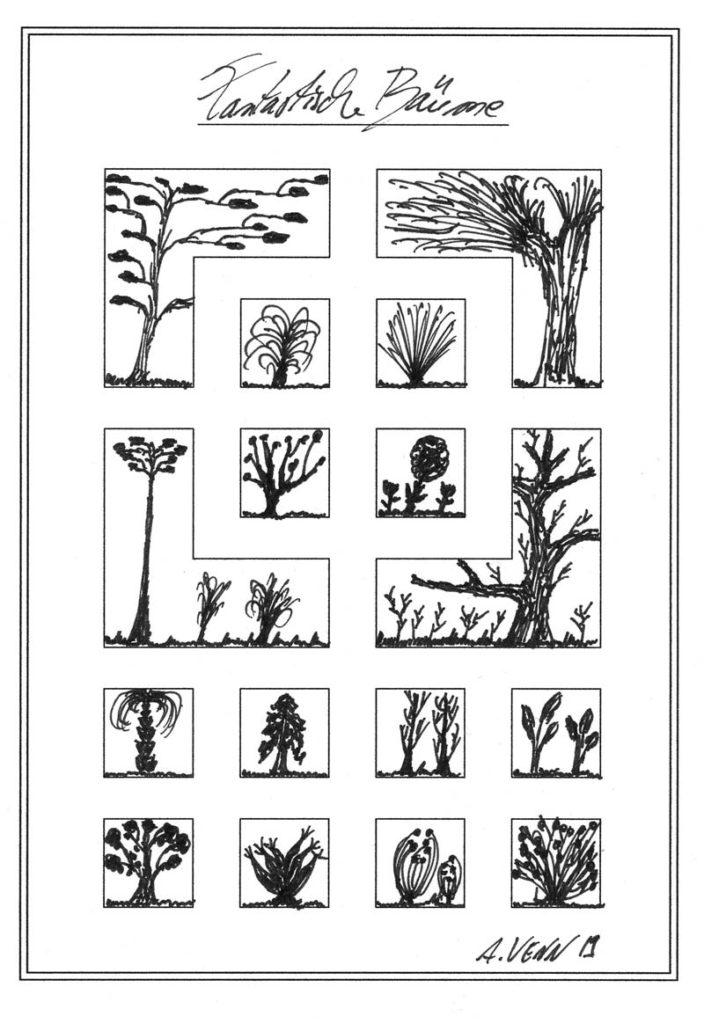 Bäume und Sträucher zeichnen.