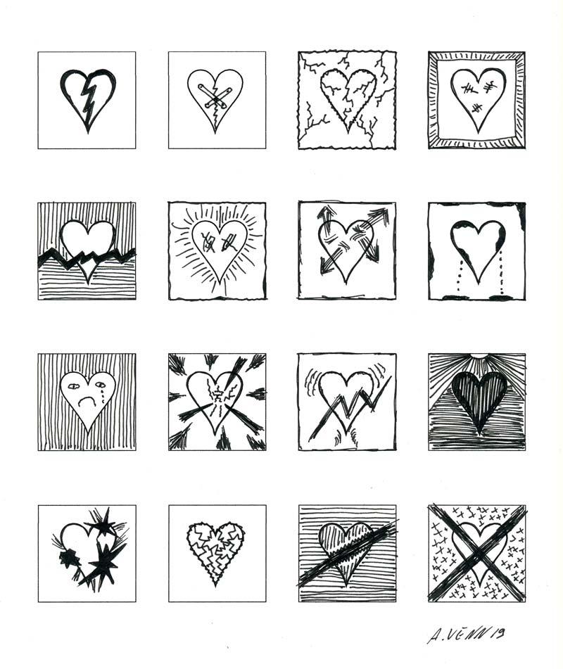 Gebrochene Herzen zeichnen - in Schwarz-Weiß 16 Beispiele