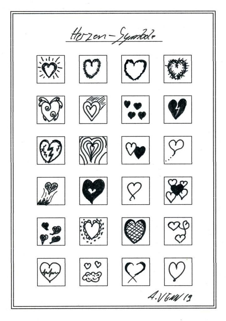 24 Herzen von Hand gezeichnet und verziert