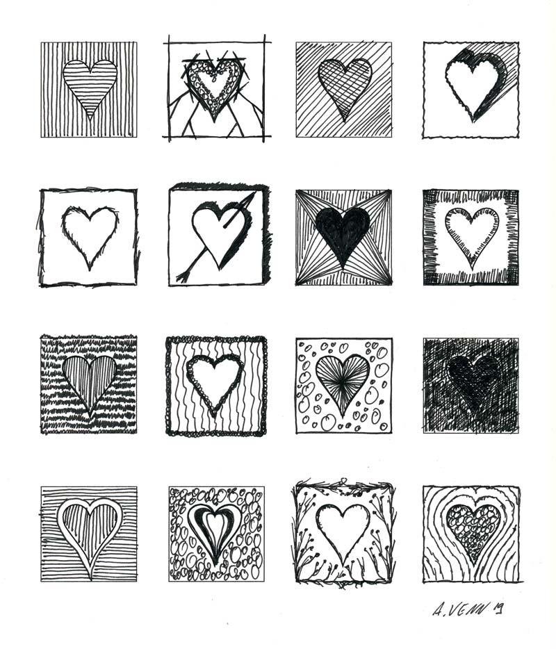 Originelle Herzen gezeichnet mit Rahmen