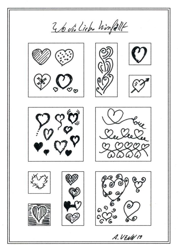 Herzen zeichnen übern - Herzen als Muster