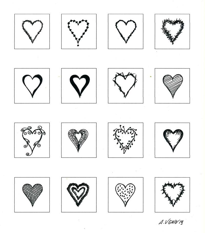 Schwarz-Weiss Herz Zeichnungen und verziert mit Tuschestift: Zeichen der Liebe