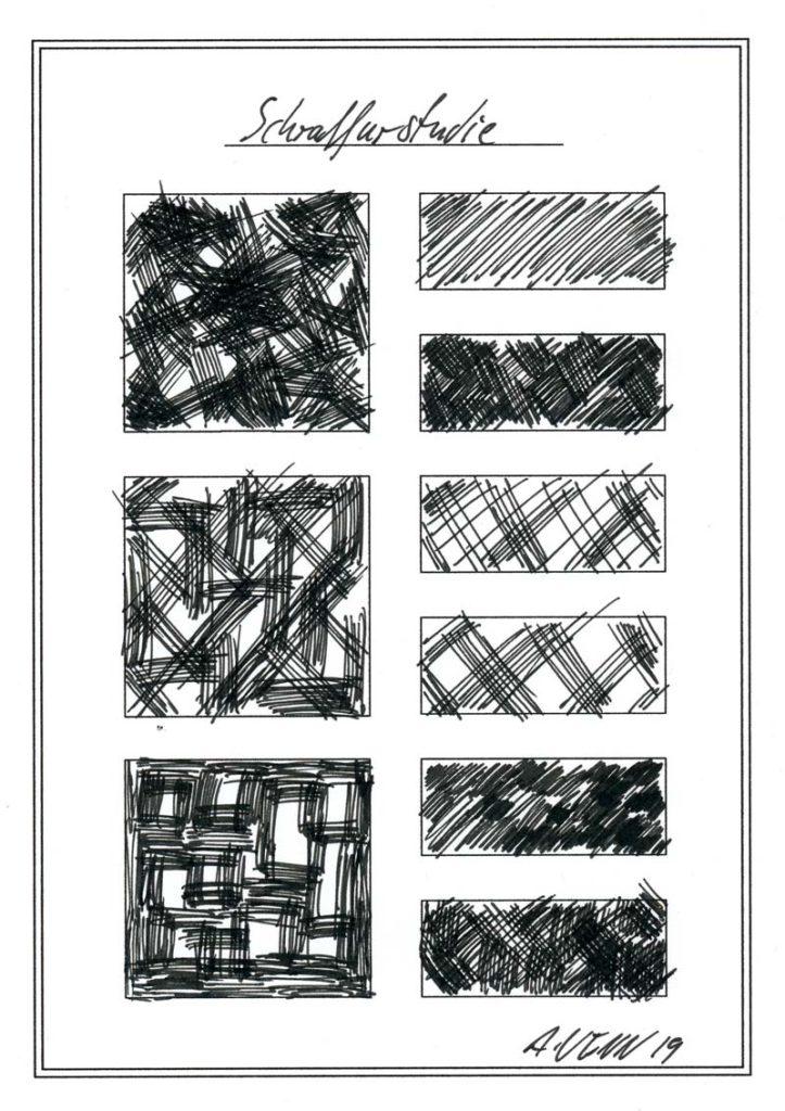 Schraffuren zeichnen - Übungen mit 9 Beispielen