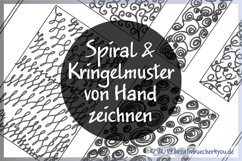 Spiral und Kringel Muster von gezeichnet in Schwarz Weiss