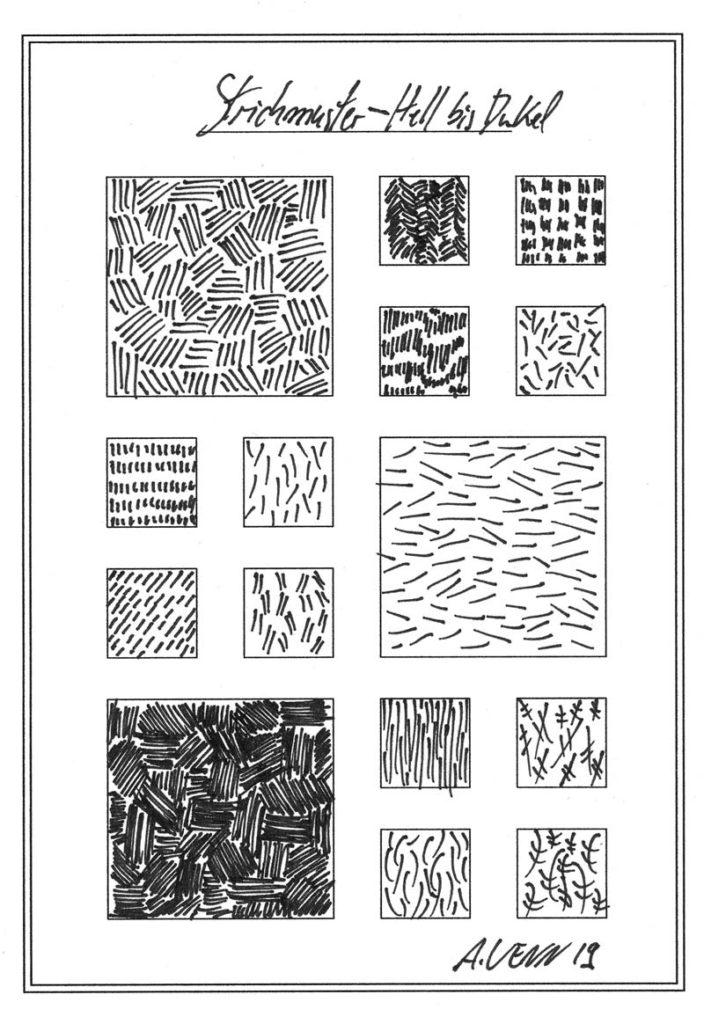 Strichmuster von Hand gezeichnet