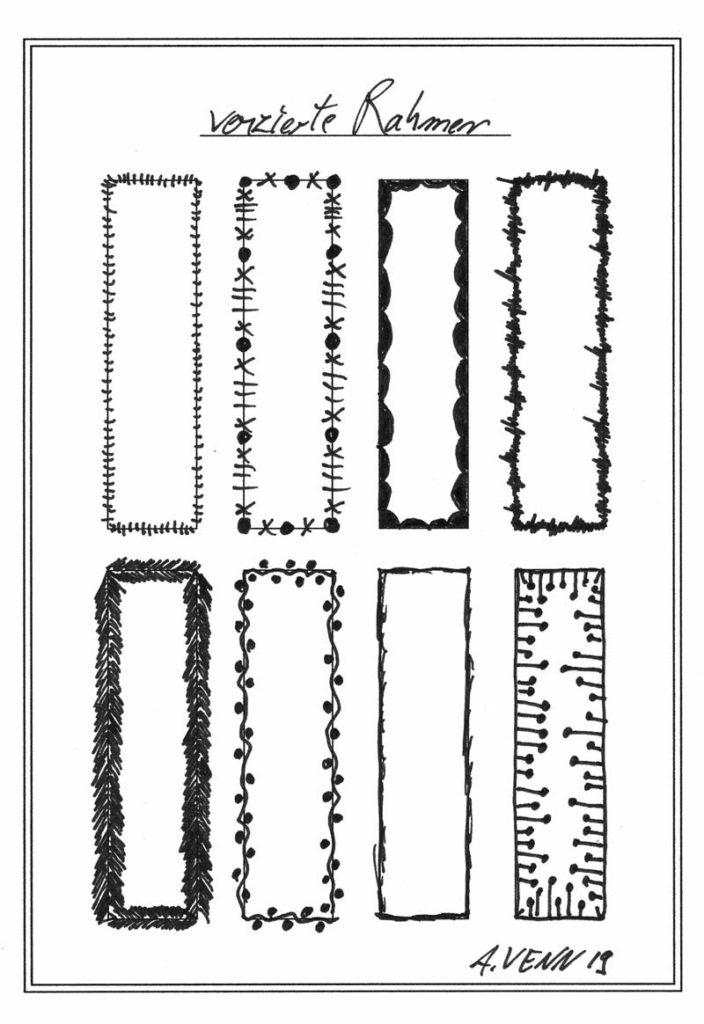 Rahmen verzieren und zeichnen in Schwarz/Weiss