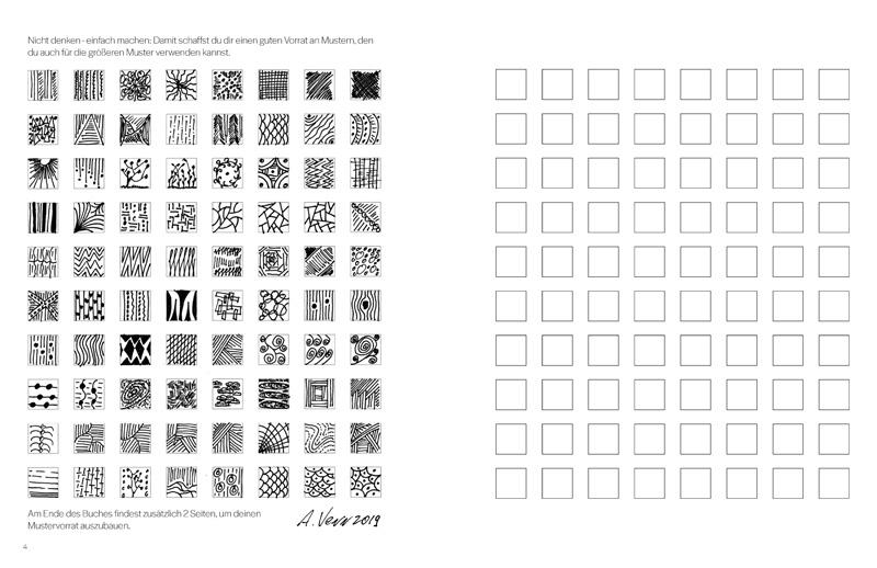 Einzelmuster: Eine Sammlung selbst zeichnen im Übungsbuch
