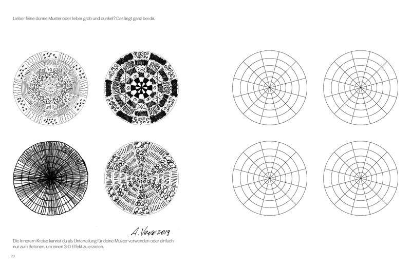 Bemusterte Kreissegmente mit Vorlagen