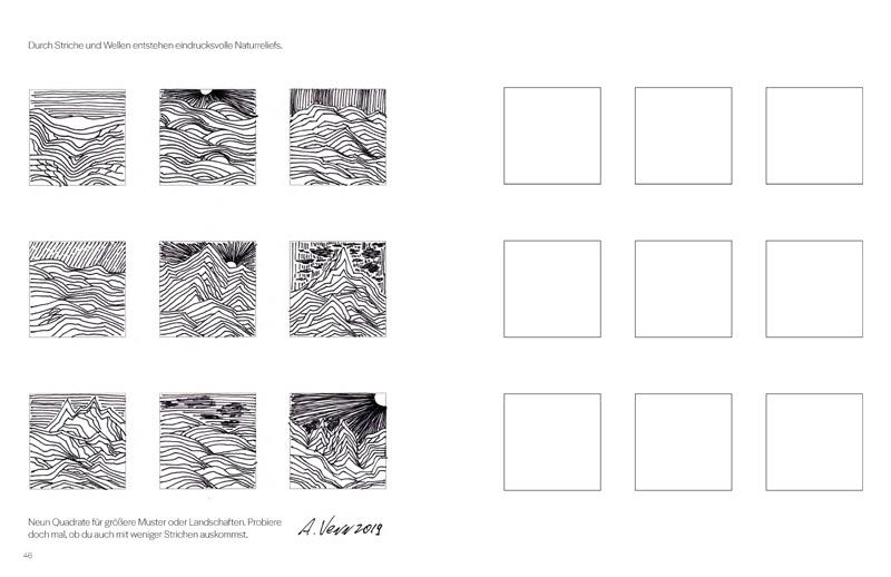 Landschaftsmuster zeichnen aus der Vorlage im Buch heraus