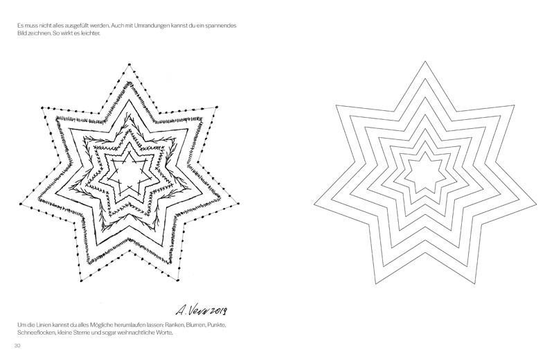 Im Buch einfache Muster zeichnen - hier ein Stern verzieren