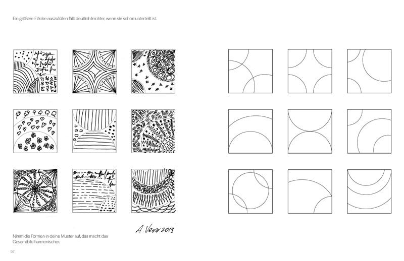 Zentangle Muster zeichnen im Musterbuch