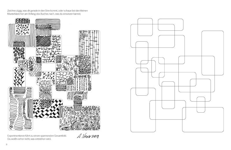 verschlungen, verwobene Muster zeichnen im Kreativbuch