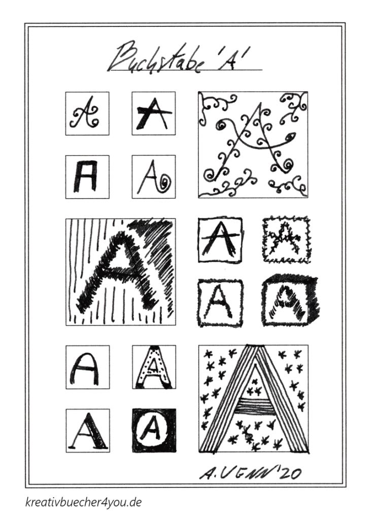 Buchstaben zeichnen in Schwarz Weiß mit Musterung und ohne