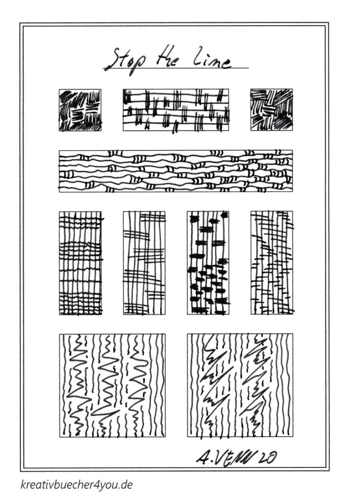 Unterbrochne Linien Muster:  horizontal und vertikal  in schwarz/weiss von Alexander Venn - kreativbuecher4you.de