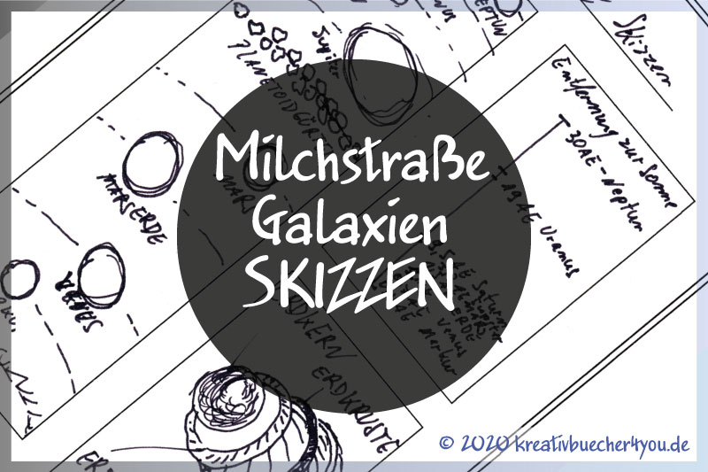 Milchstrasse-Galaxien-Sonnensystem Skizzen und Zeichnungen