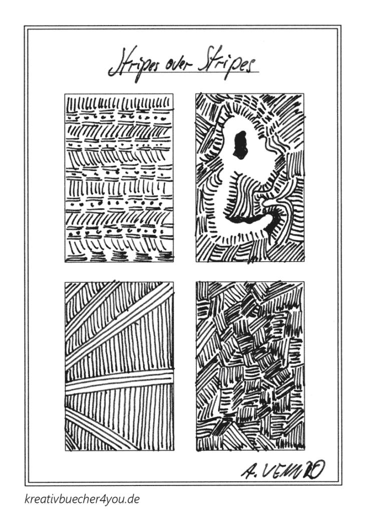 Originelle Sreifenmuster zeichnen: Striche und Linien längs und quer
