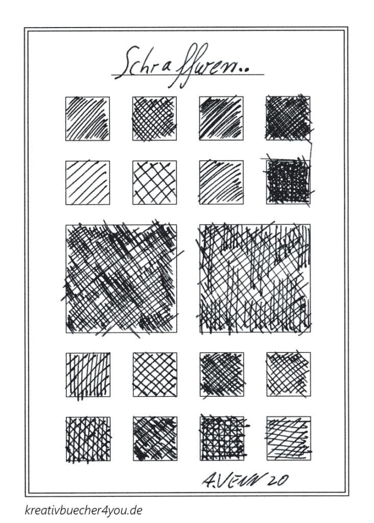 Beispiele für Schraffuren - Zeichnen mit Kreuzschfraffuren