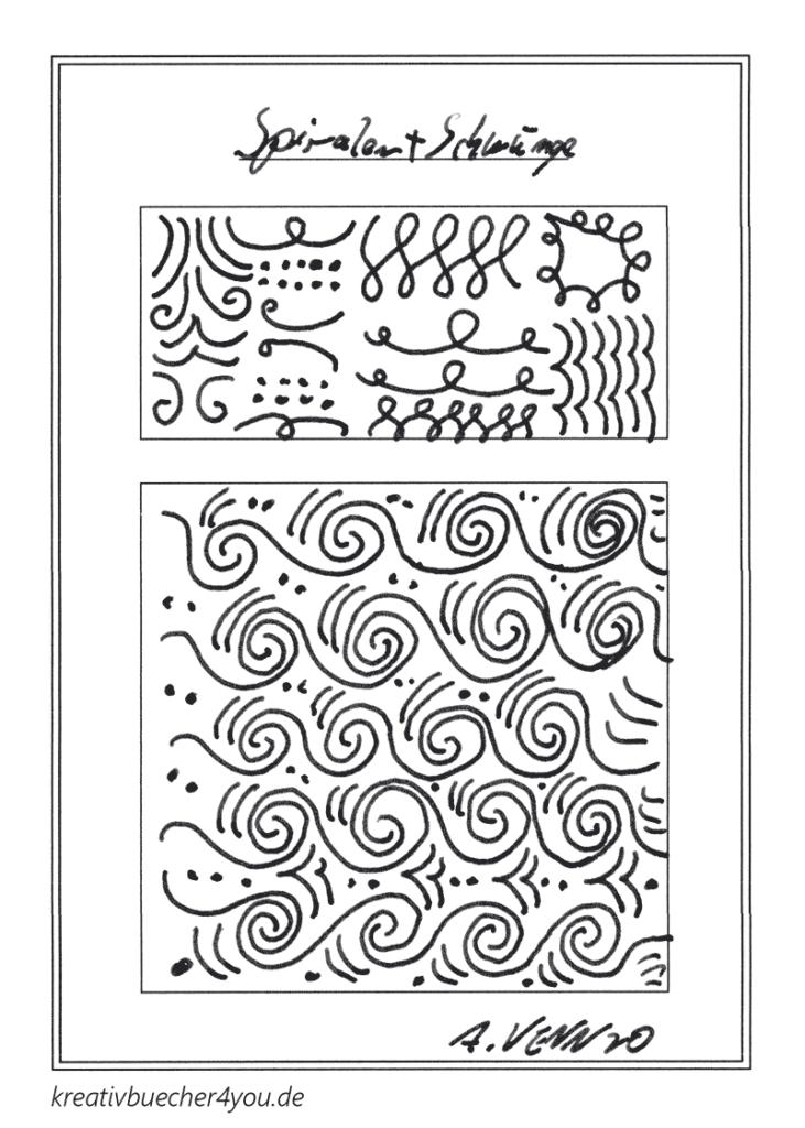 Von Hand gezeichnete Schwünge und Spiralmuster in schwarz-weiß