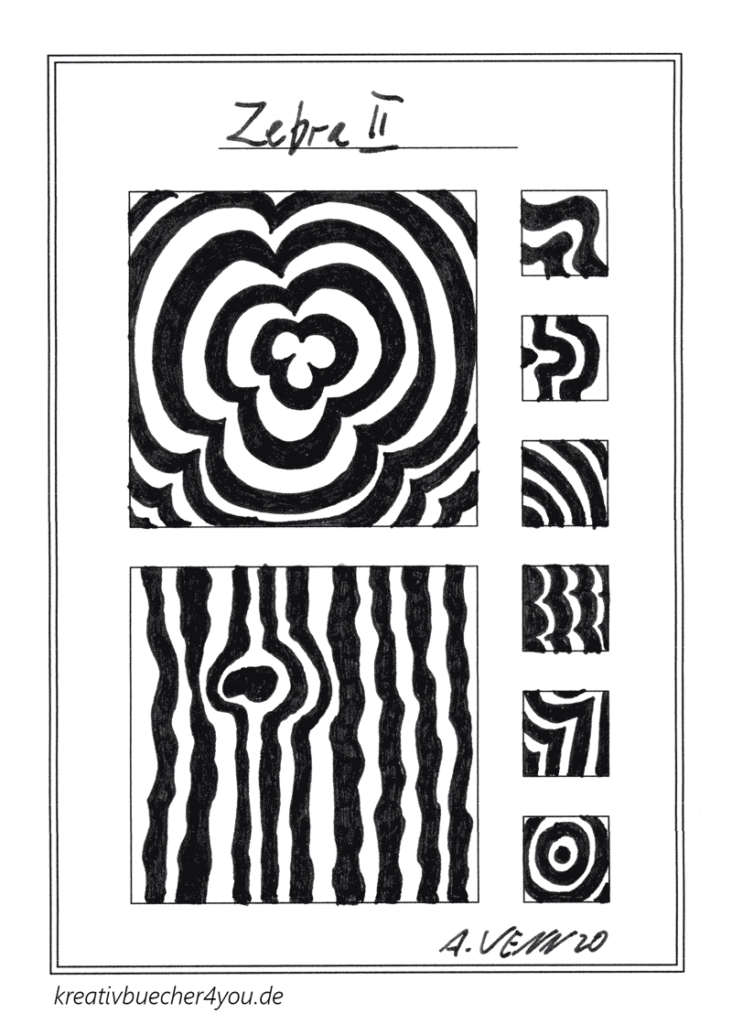 Zebramuster blumig und gewellt in Schwarz Weiß