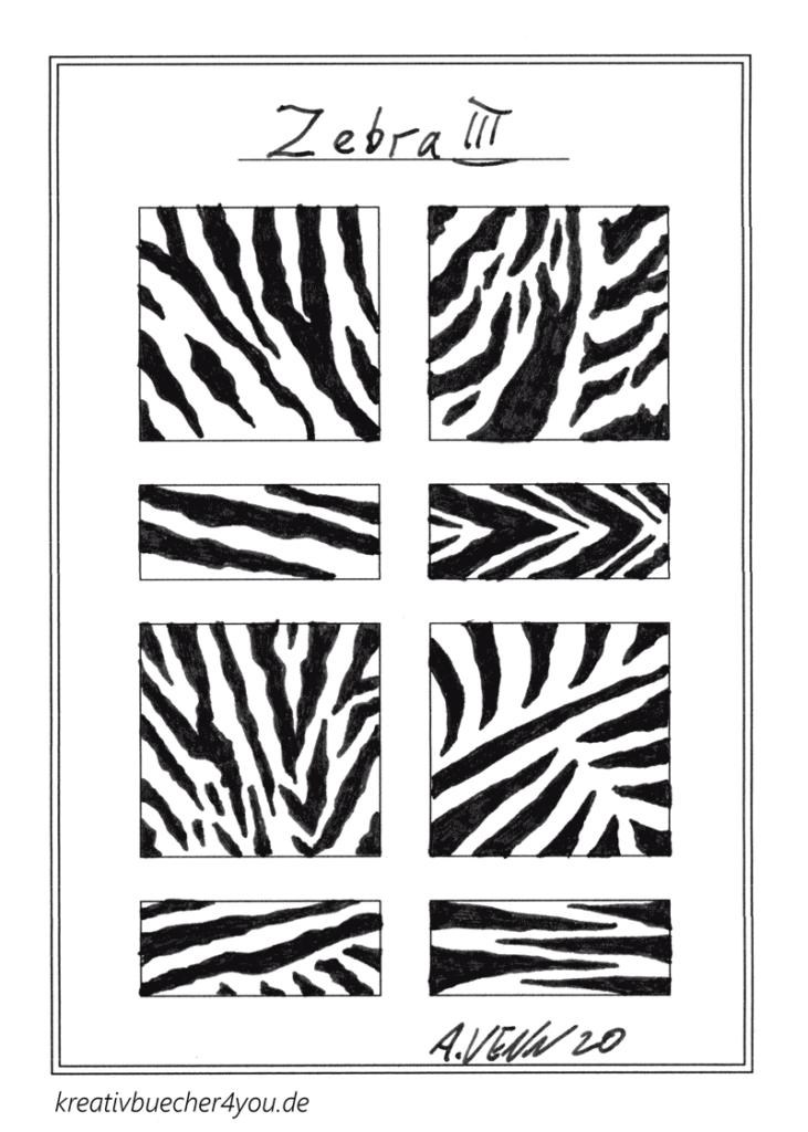 Echtes Zebramuster von Hand gezeichnet mit Tusche und Patronenfüller