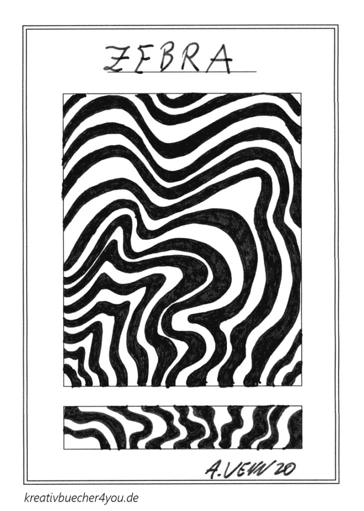 Gezeichnetes Zebramuster in Wellen mit Tintenfüller - abstrakt