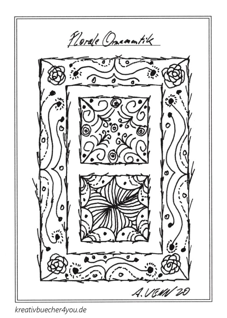 Florales Ornament mit dem Füller zeichnen