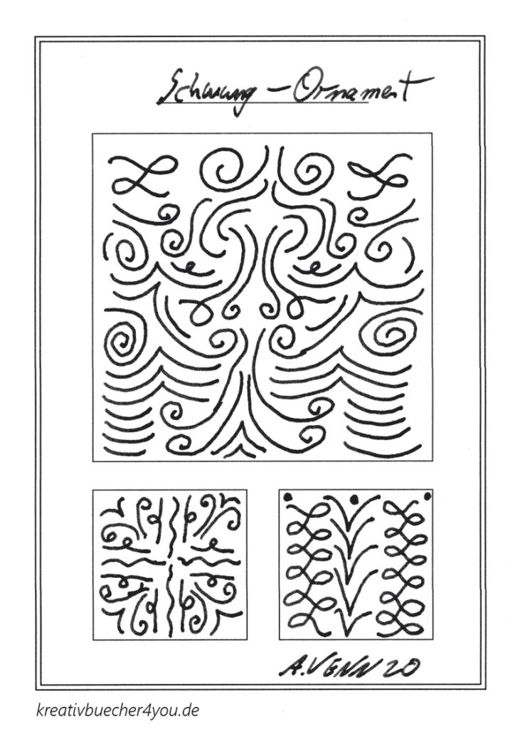 Ornament mit geschwungen Linien