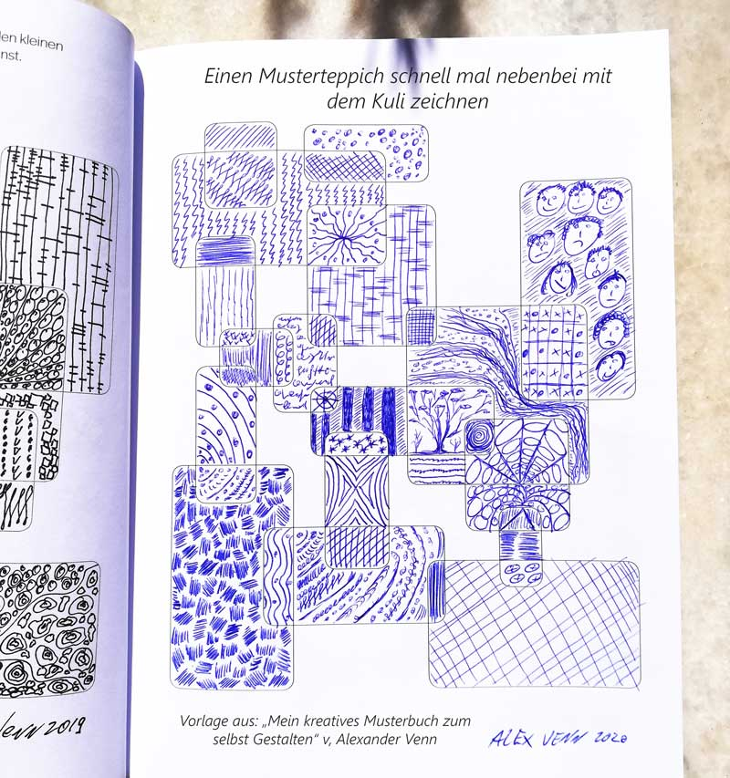 Muster Zusammenstellung mit Kugelschreiber in Blau