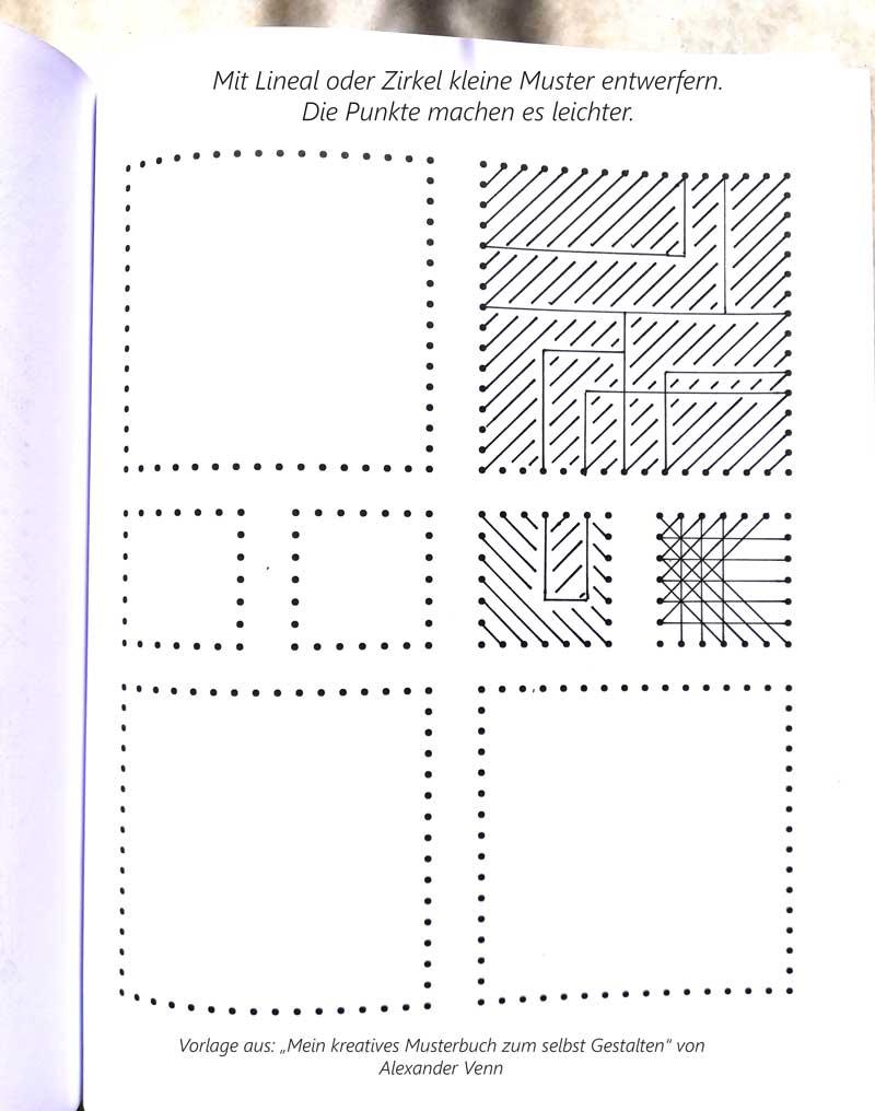 Fadenbilder Vorlagen streng geometrisch mit dem Lineal gezeichnet