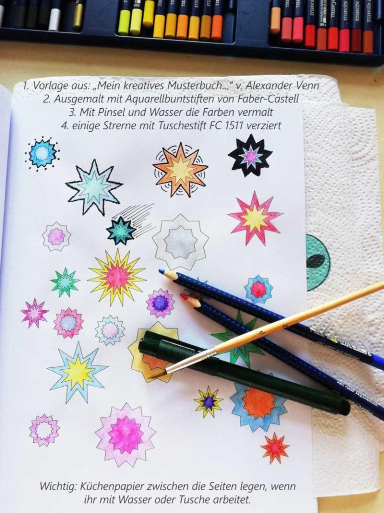 Vorlage: Sterne mit Aquarellbuntstiften von Faber-Castell ausgemalt