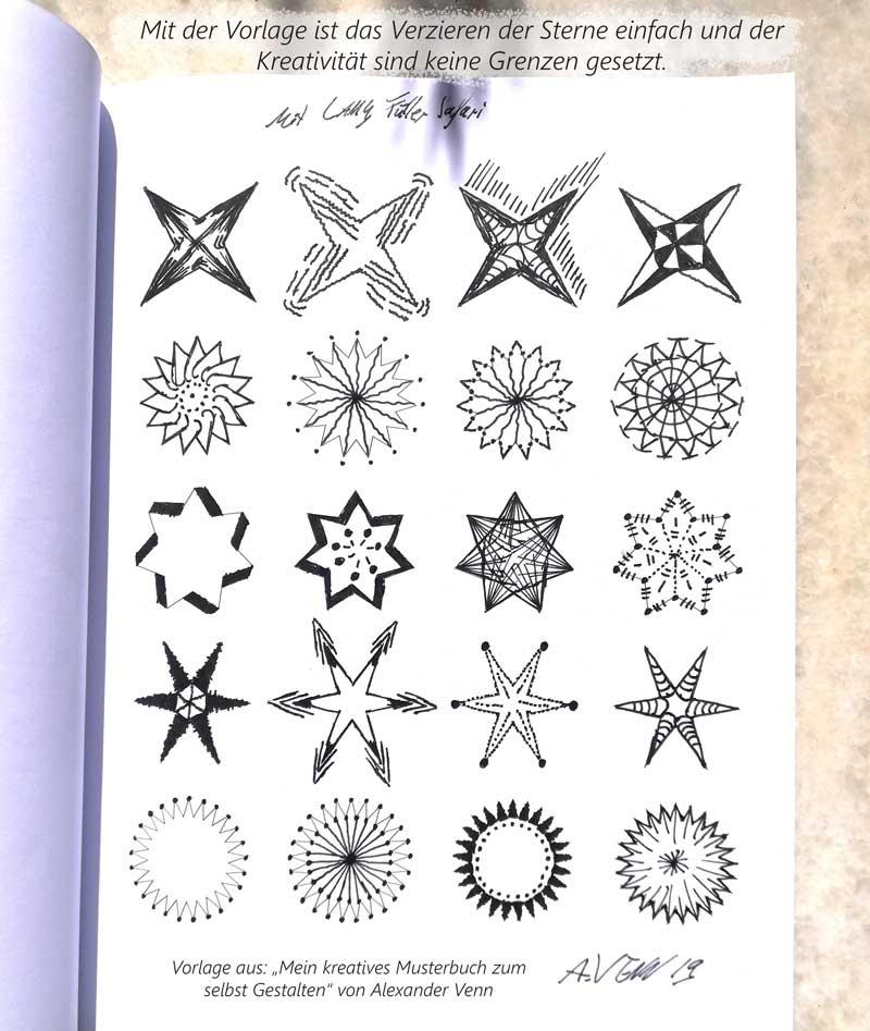Vorlage zum Sterne zeichnen und verzieren 20 Beispiele